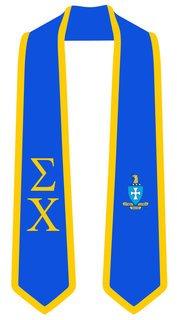 DISCOUNT-Sigma Chi Greek 2 Tone Lettered Graduation Sash Stole