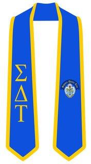 DISCOUNT-Sigma Delta Tau Greek 2 Tone Lettered Graduation Sash Stole