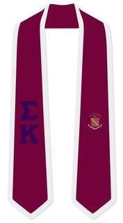 DISCOUNT-Sigma Kappa Greek 2 Tone Lettered Graduation Sash Stole