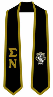 DISCOUNT-Sigma Nu Greek 2 Tone Lettered Graduation Sash Stole