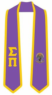DISCOUNT-Sigma Pi Greek 2 Tone Lettered Graduation Sash Stole