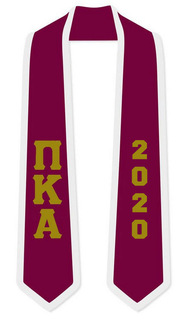 DISCOUNT-Pi Kappa Alpha Greek 2 Tone Lettered Graduation Sash Stole w/ Year