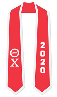 DISCOUNT-Theta Chi Greek 2 Tone Lettered Graduation Sash Stole w/ Year
