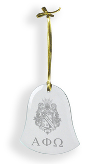 Alpha Phi Omega Glass Bell Ornaments