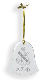 Alpha Sigma Phi Glass Bell Ornaments