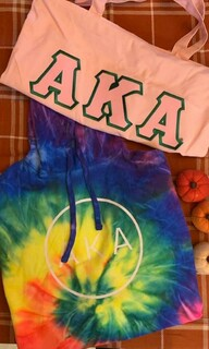 The New Super Savings - Alpha Kappa Alpha Hoodie and Tote Bag Set - TIE DYE AND PINK