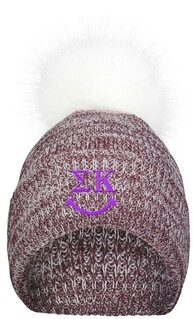 Sigma Kappa Smiley Faux Fur Pom Beanie