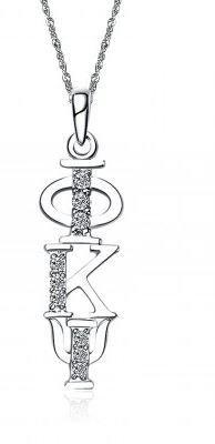 Phi Kappa Psi Sweet Heart Vertical Silver Lavalier