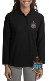 DISCOUNT-Delta Gamma Emblem Long Sleeve Polo