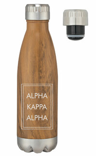 Alpha Kappa Alpha Sorority Swig Stainless Steel Woodtone Bottle