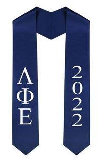 Lambda Phi Epsilon Greek Lettered Graduation Sash Stole With Year - Best Value