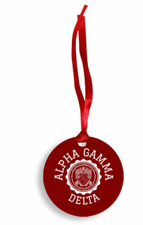 Alpha Gamma Delta Christmas Crest - Shield Aluminum Ornament