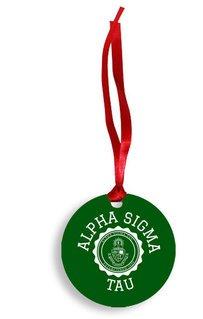 Alpha Sigma Tau Christmas Crest - Shield Aluminum Ornament