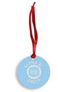 Alpha Xi Delta Christmas Crest - Shield Aluminum Ornament