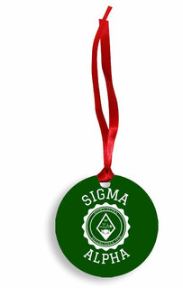 Sigma Alpha Christmas Crest - Shield Aluminum Ornament