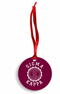 Sigma Kappa Christmas Crest - Shield Aluminum Ornament