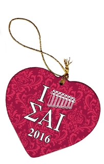 Sigma Alpha Iota Porcelain Heart Christmas Ornament
