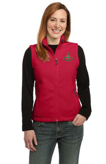 DISCOUNT-Alpha Chi Omega Crest - Shield Patch Ladies Fleece Vest