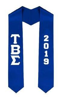 Tau Beta Sigma Greek Lettered Graduation Sash Stole With Year - Best Value