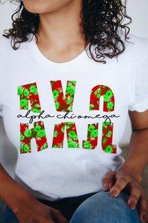 Alpha Chi Omega Floral Big Lettered T-Shirt