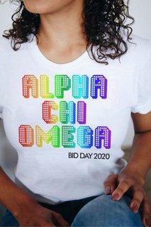 Alpha Chi Omega Pixel Tee - Comfort Colors