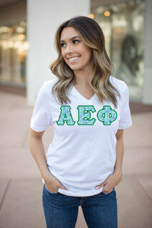 DISCOUNT-Alpha Epsilon Phi Lettered V-Neck Tee