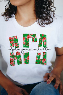 Alpha Gamma Delta Floral Big Lettered T-Shirt