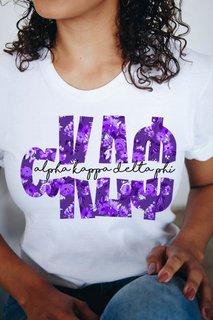 alpha Kappa Delta Phi Floral Big Lettered T-Shirt