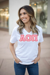 DISCOUNT-Alpha Omicron Pi Lettered V-Neck Tee