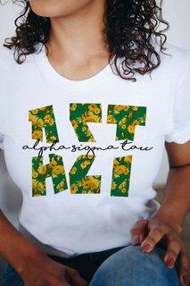 Alpha Sigma Tau Floral Big Lettered T-Shirt