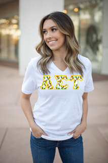 DISCOUNT-Alpha Sigma Tau Lettered V-Neck Tee