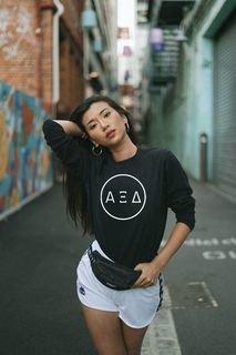 Alpha Xi Delta Circle Comfort Colors Long Sleeve Tee