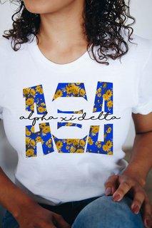 Alpha Xi Delta Floral Big Lettered T-Shirt