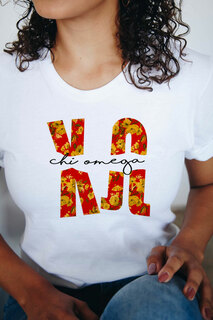 Chi Omega Floral Big Lettered T-Shirt