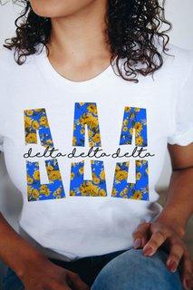 Delta Delta Delta Floral Big Lettered T-Shirt