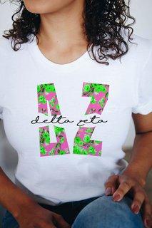 Delta Zeta Floral Big Lettered T-Shirt