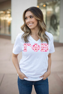 DISCOUNT-Gamma Phi Beta Lettered V-Neck Tee