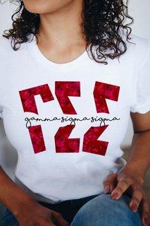 Gamma Sigma Sigma Floral Big Lettered T-Shirt