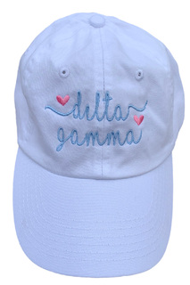 New Super Savings - Delta Gamma Script Hearts Ball Cap - WHITE