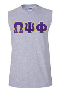 DISCOUNT-Omega Psi Phi Lettered SIM Sleeveless Tee - ON SALE!
