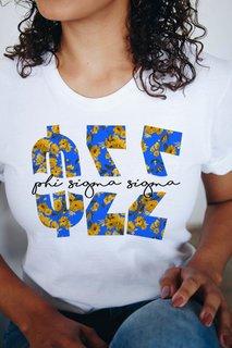 Phi Sigma Sigma Floral Big Lettered T-Shirt