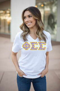 DISCOUNT-Phi Sigma Sigma Lettered V-Neck Tee