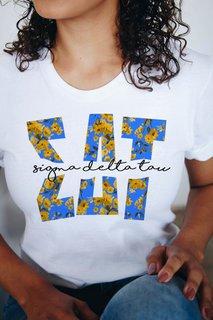 Sigma Delta Tau Floral Big Lettered T-Shirt