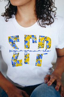 Sigma Gamma Rho Floral Big Lettered T-Shirt
