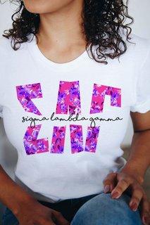 Sigma Lambda Gamma Floral Big Lettered T-Shirt