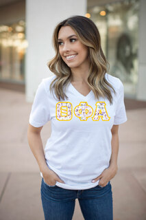 DISCOUNT-Theta Phi Alpha Lettered V-Neck Tee
