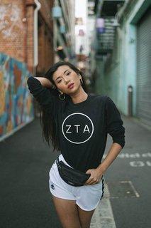 Zeta Tau Alpha Circle Comfort Colors Long Sleeve Tee