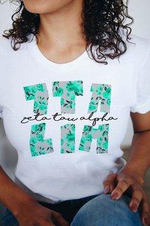 Zeta Tau Alpha Floral Big Lettered T-Shirt