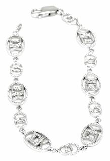 Sigma Kappa Sterling Silver Bracelet set with Lab-created Diamonds