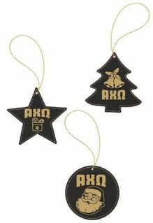 Fraternity & Sorority Leatherette Holiday Ornament Set (3)